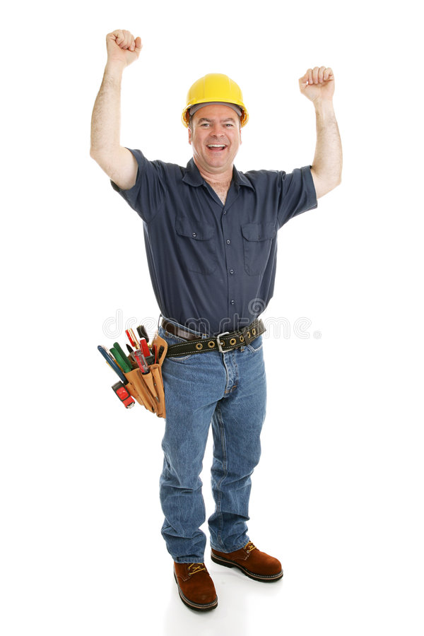 Construction Worker Excited. By his success or good fortune. Full body isolated on white royalty free stock images