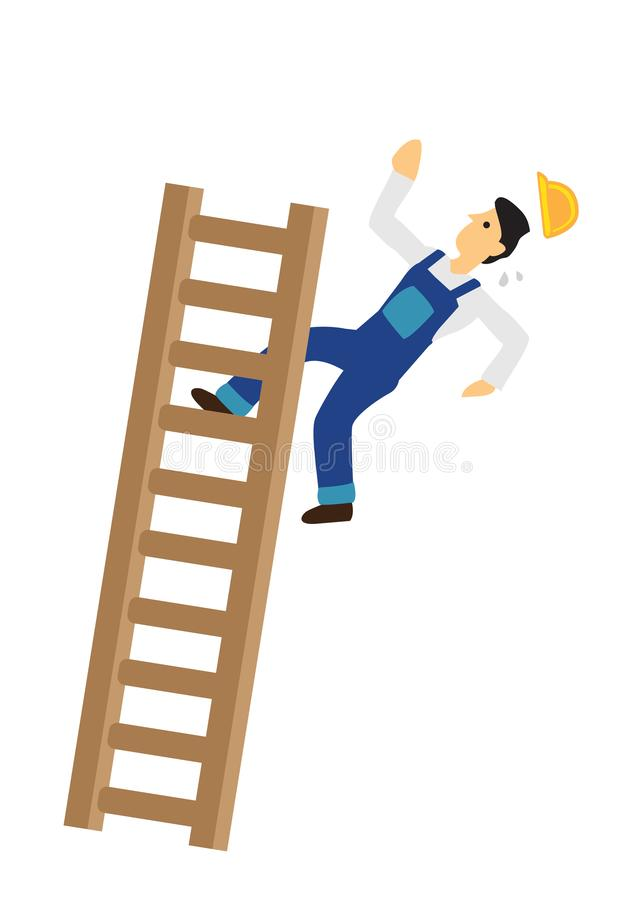 Free Construction Worker Falling Down From The Ladder. Concept Of Work Accident Royalty Free Stock Images - 154179859