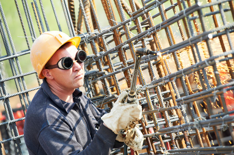 Construction Worker With Flame Stock Images