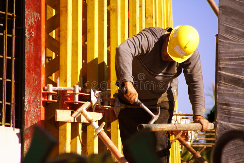 Construction worker formwork stock image