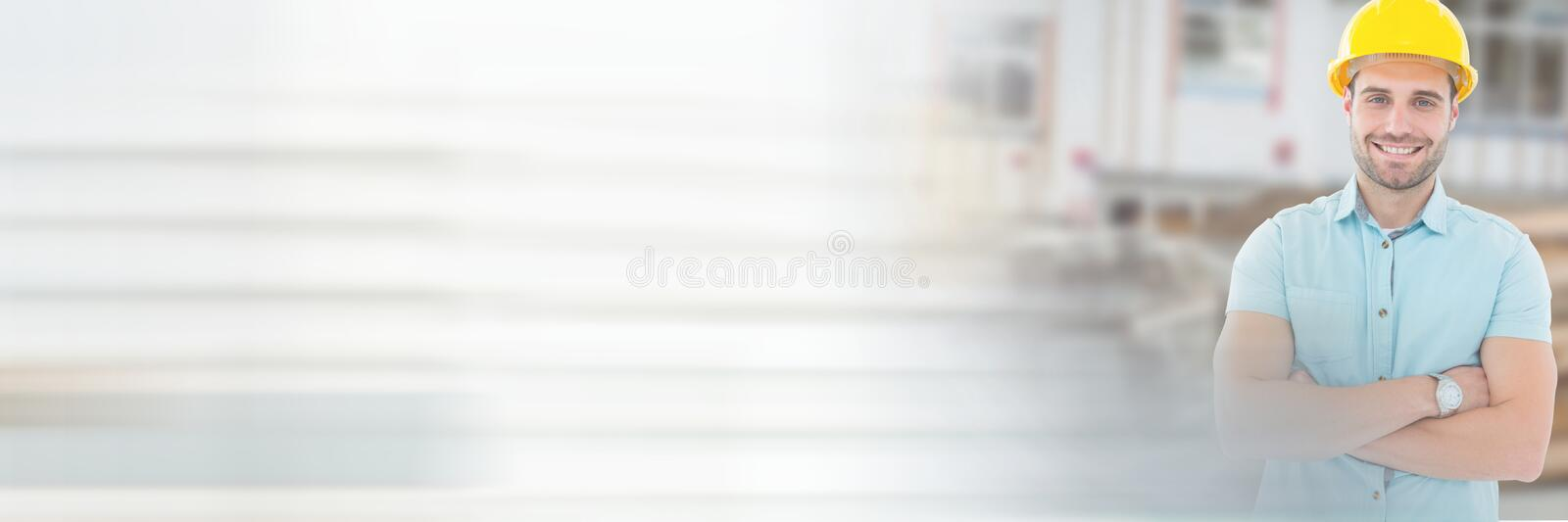 Construction Worker in front of construction site with transition effect royalty free stock image