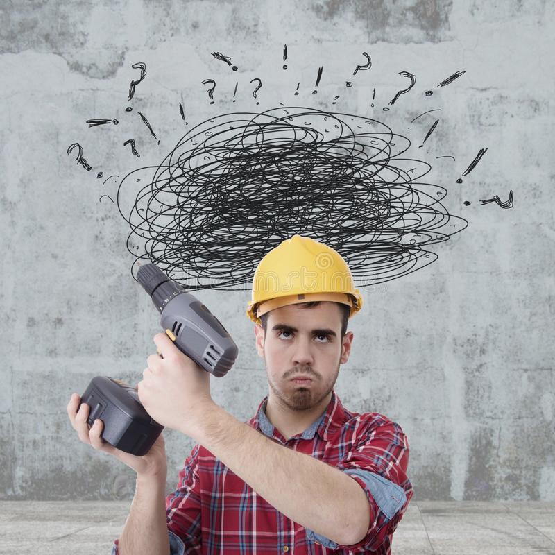 Construction worker frustrated stock photo