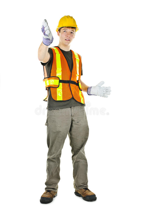Construction worker gesturing royalty free stock images