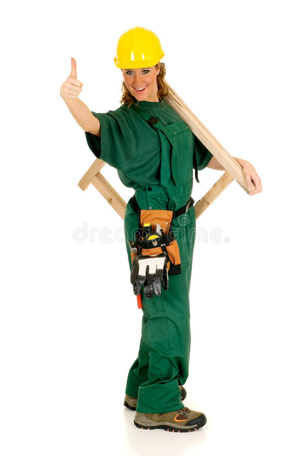 Construction worker, green stock image