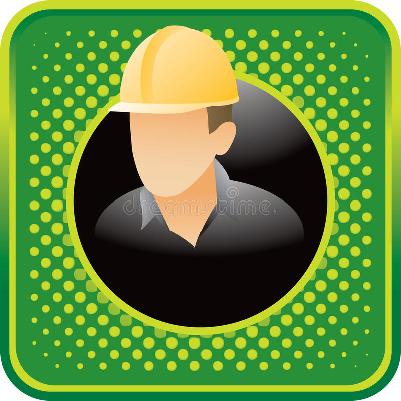 Download Construction Worker On Green Halftone Web Icon Stock Vector - Illustration: 11243387