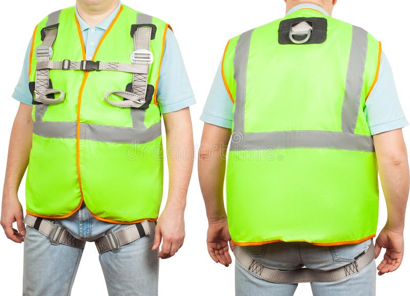 Construction worker in green safety vest isolated on white background stock image