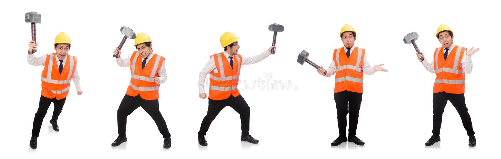 Construction worker with hammer isolated on white stock photo