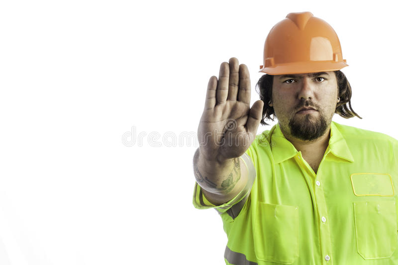 Construction Worker with hand out royalty free stock photos