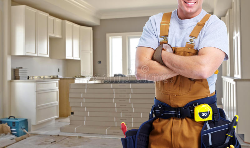 Construction worker hands royalty free stock photos