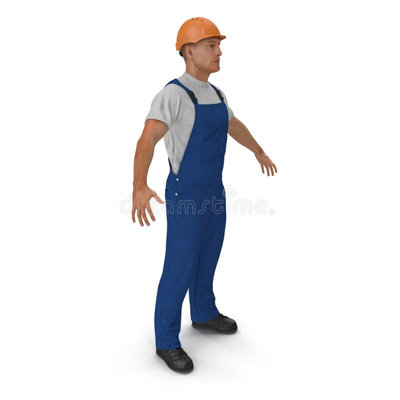 Construction Worker with Hardhat Standing Pose On White. 3D illustration, isolated vector illustration