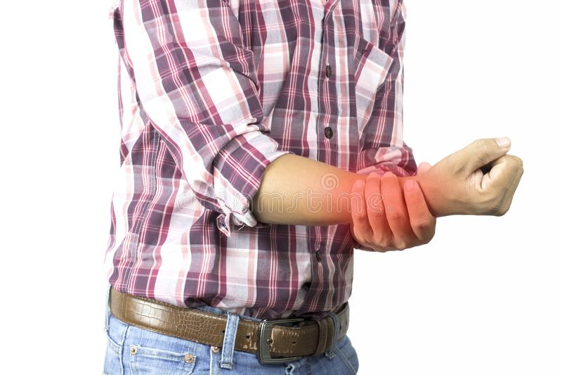 Construction worker has suffering from pain in hand, severe arm ache, wrist attack on white background, concept as healtcare, d stock images