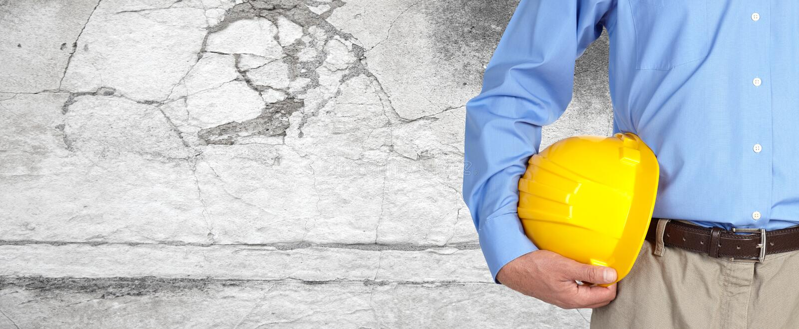 Construction worker with helmet. royalty free stock photo