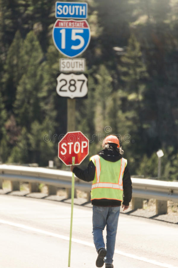 Construction Worker on Highway stock photo