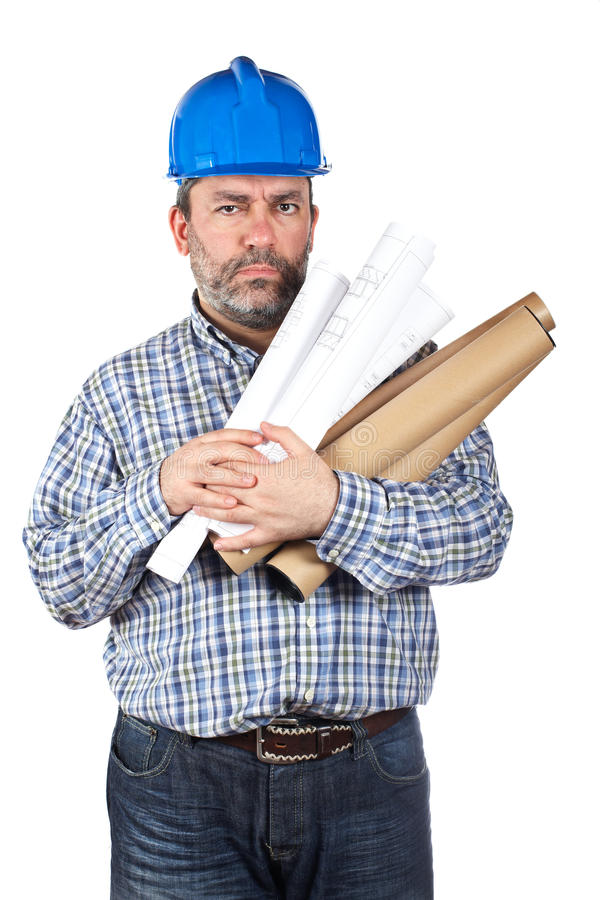 Construction Worker Holding Blueprints Royalty Free Stock Photos