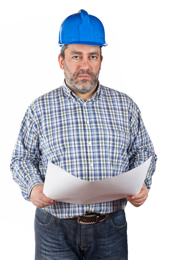 Download Construction Worker Holding Blueprints Stock Image - Image of house, executive: 8849457