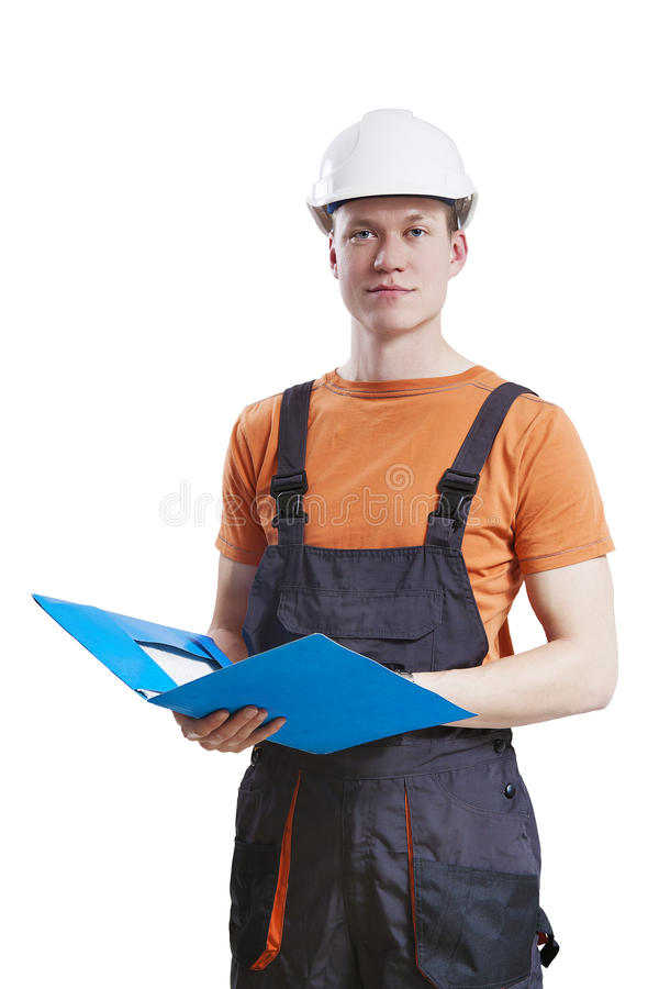 Construction worker holding folder stock photo