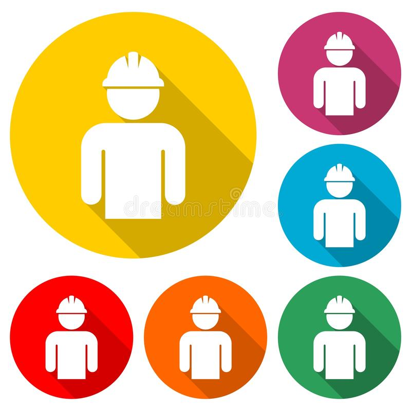 Construction worker icon in flat style with long shadow stock illustration