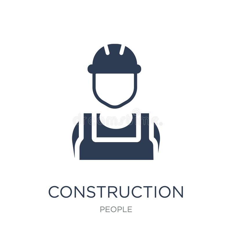 Construction worker icon. Trendy flat vector Construction worker. Icon on white background from People collection, vector illustration can be use for web and royalty free illustration