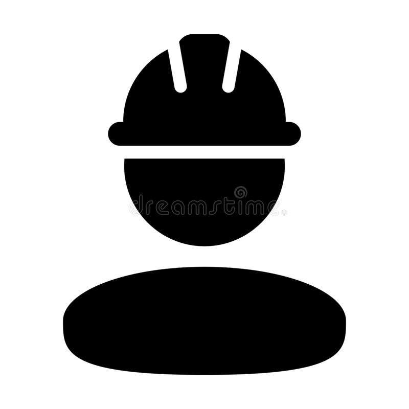 Construction worker icon vector male service person profile avatar with hardhat helmet in glyph pictogram. Illustration vector illustration