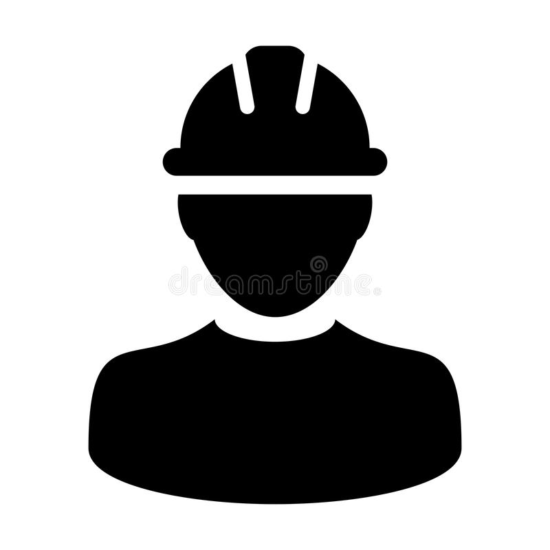 Construction Worker Icon - Vector Person Profile Avatar illustration. Construction Worker Icon - Vector Person Profile Avatar With Hardhat Helmet in Glyph stock illustration