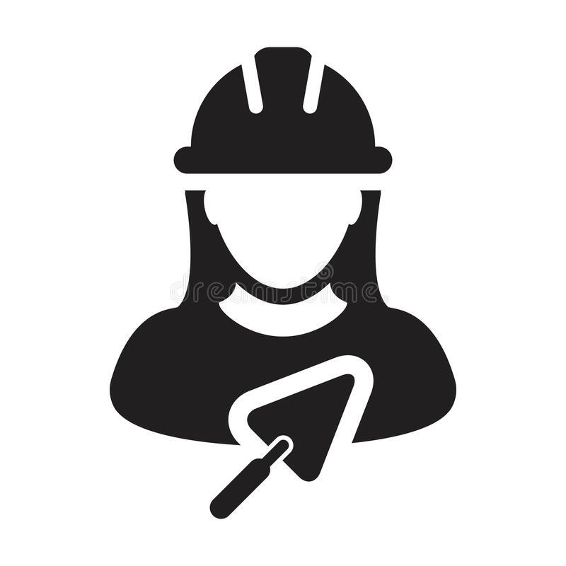 Free Construction Worker Icon With Trowel Vector Female Contractor Person Profile Avatar With Hardhat Helmet In A Glyph Pictogram Stock Photo - 214286260