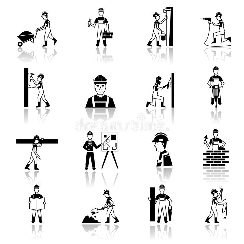 Masonry Trowel Black And White : Construction worker icons black stock vector image