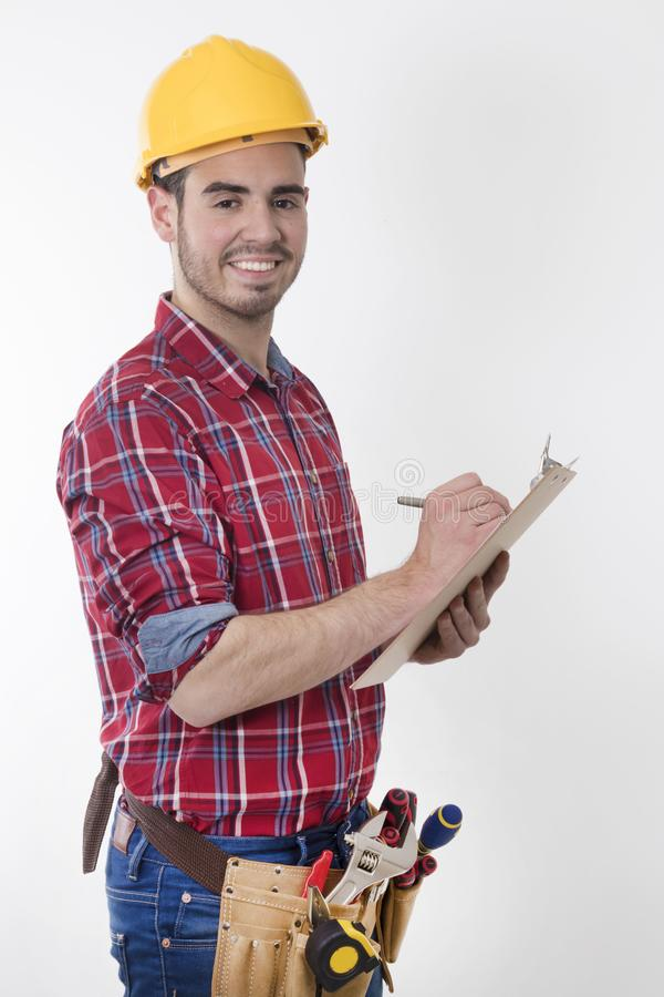 Construction worker with isolated folder stock image