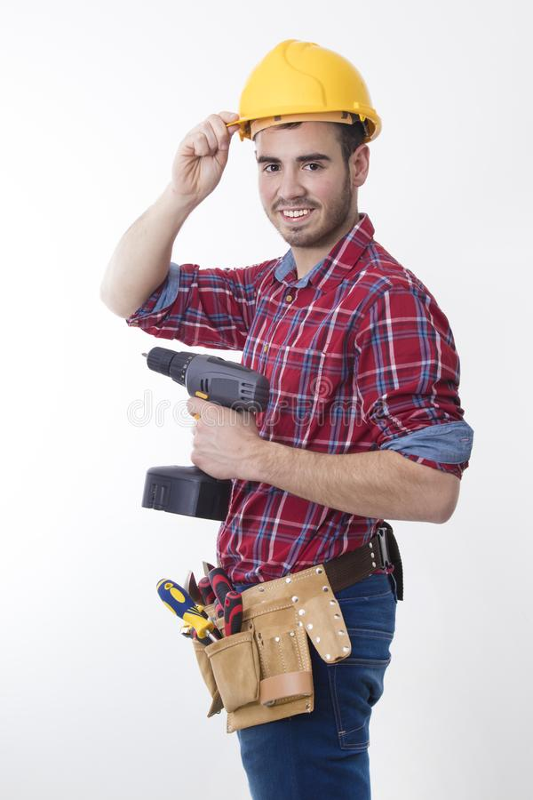 Construction worker isolated stock photo