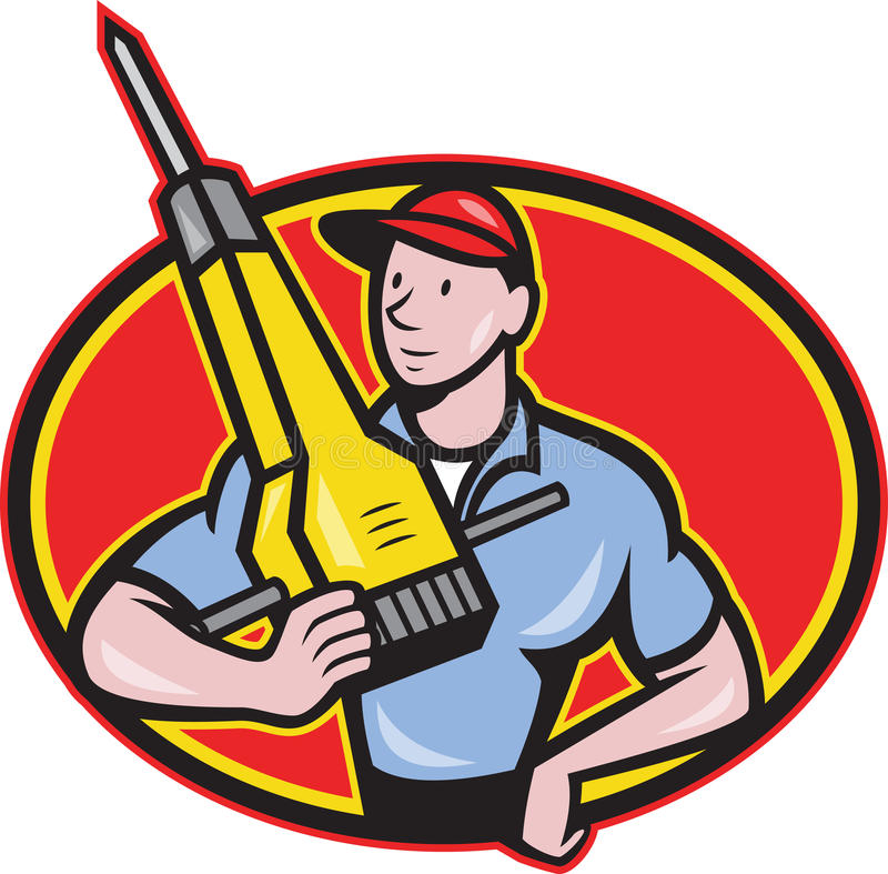 Construction Worker Jackhammer Pneumatic Drill Royalty Free Stock Photo