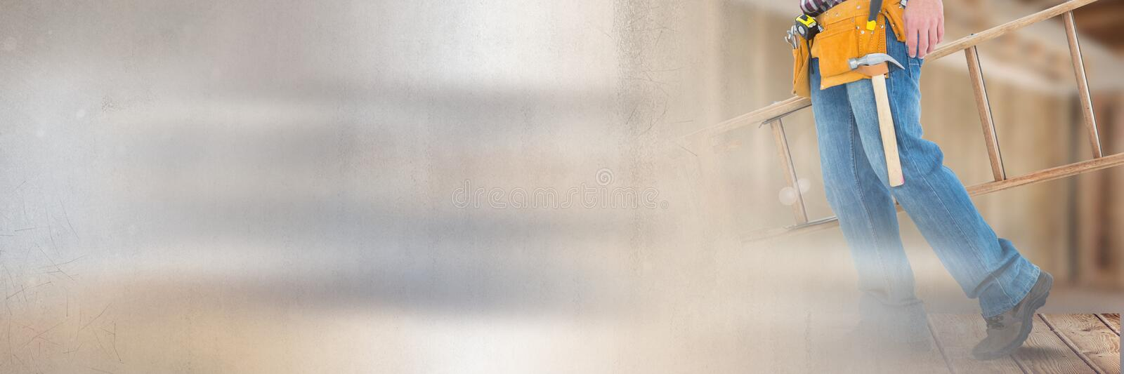 Construction Worker with ladder in front of construction site with transition effect stock images