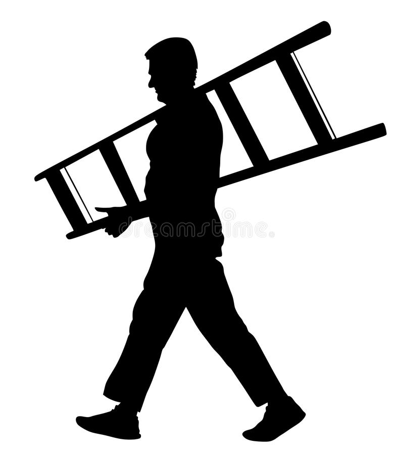 Construction worker with ladder walking. Painter painting at work. Builder carrying a ladder silhouette illustration isolated on white background. Construction vector illustration