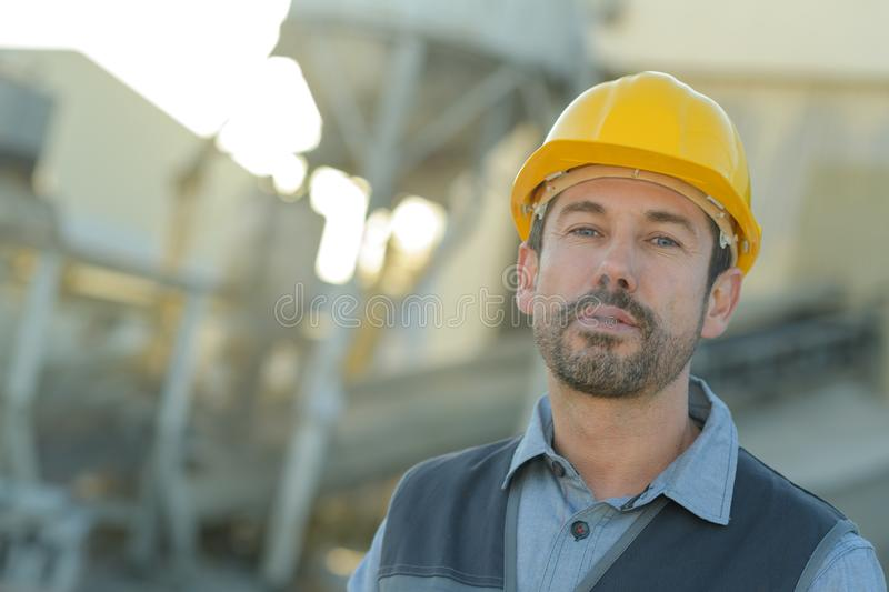 Construction worker looking into distance royalty free stock photos