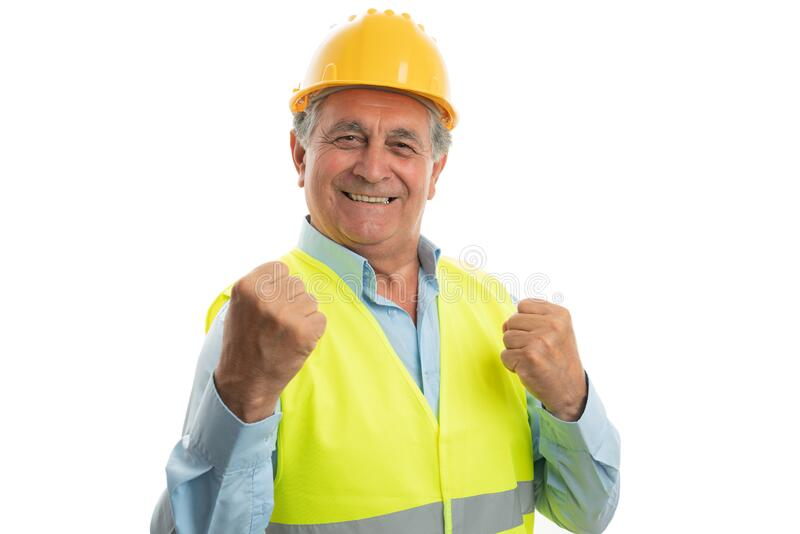 Construction worker making happy gesture stock photography