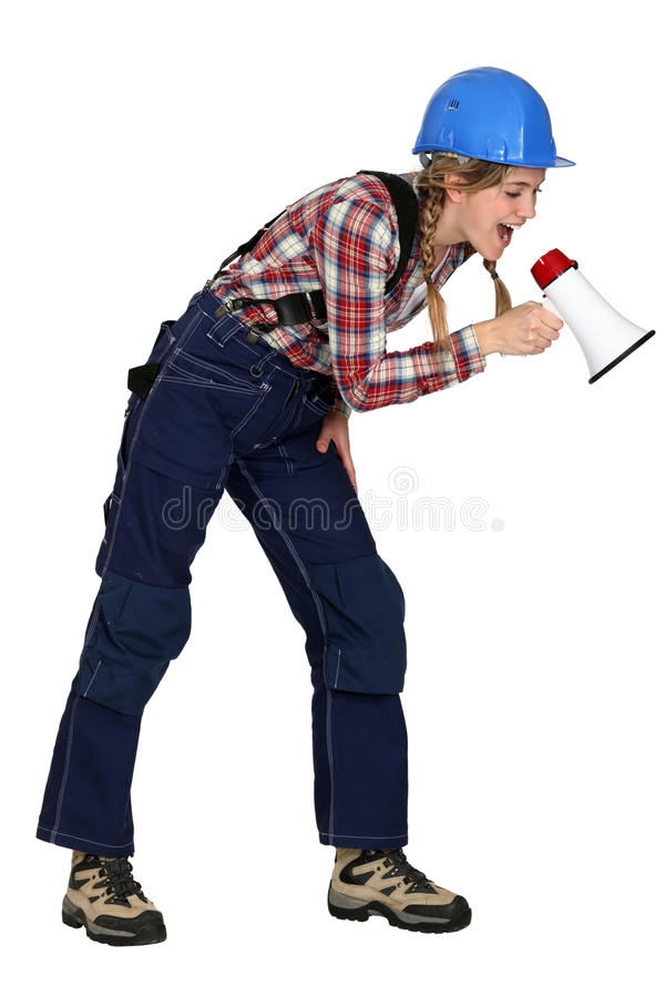 Download Construction Worker With A Megaphone Stock Photo - Image: 28009662