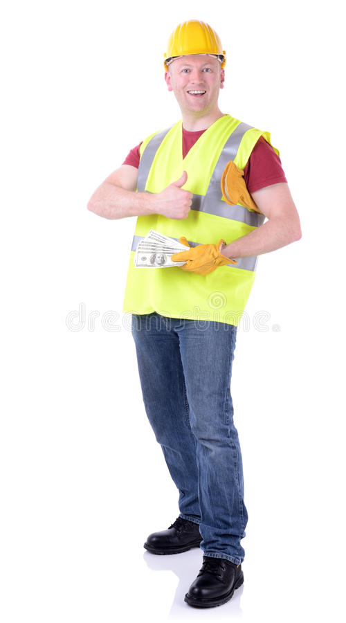 Construction worker money stock image image of incentive for How contractors make money