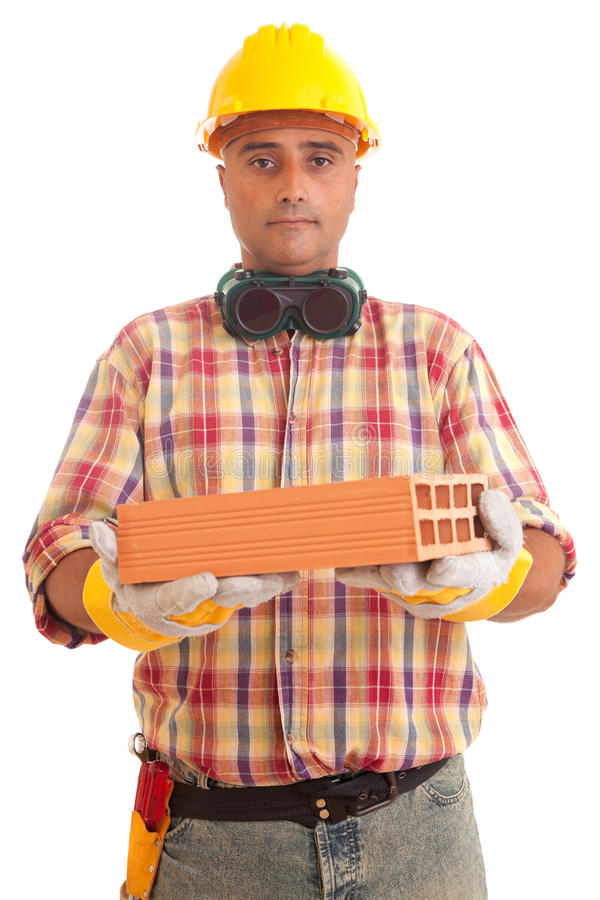 Construction worker offering services. Isolated over white stock photos
