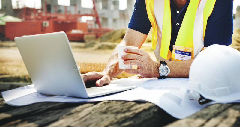 Construction Worker Planning Constractor Developer Concept stock photography