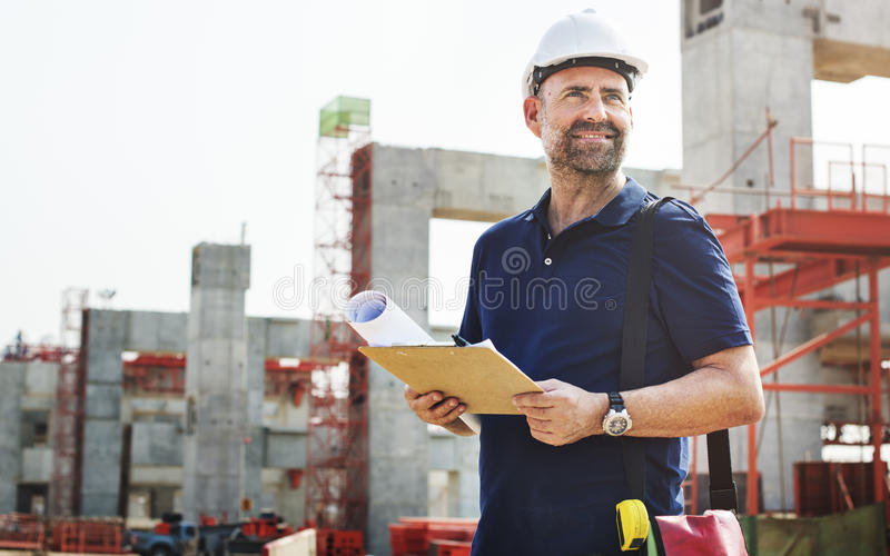 Construction Worker Planning Constructor Developer Concept royalty free stock images
