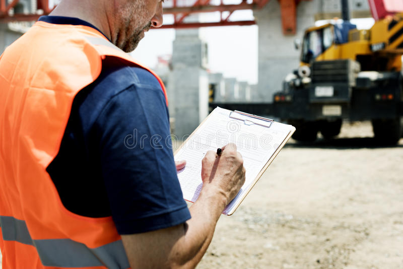 Construction Worker Planning Contractor Developer Concept stock images