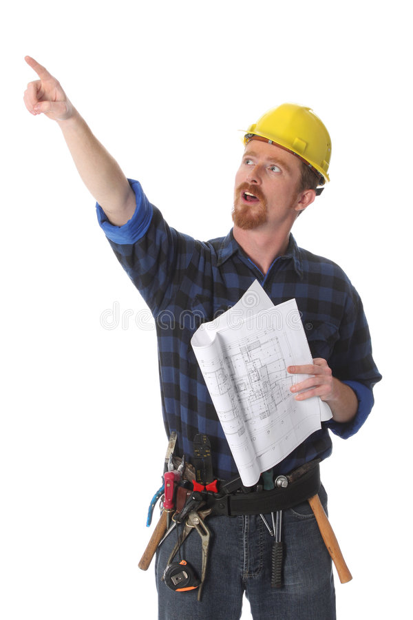 Construction worker pointing royalty free stock photo