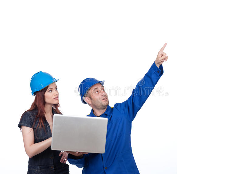 Download Construction Worker Pointing Up Stock Image - Image: 14382945