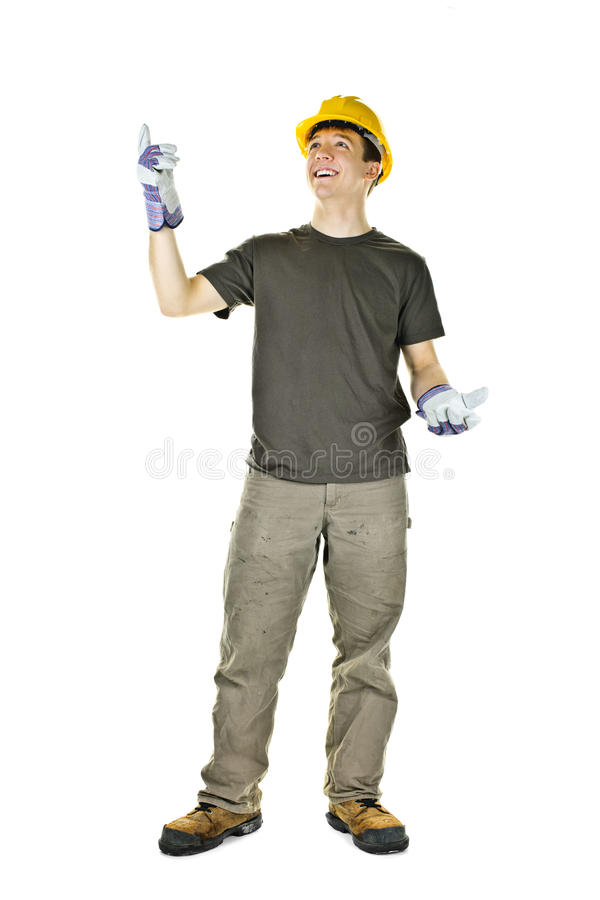 Construction worker pointing up royalty free stock photo