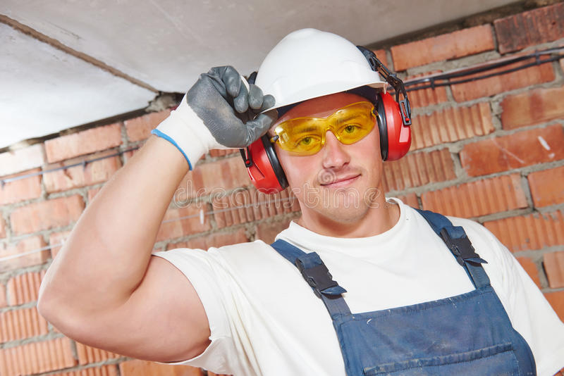Construction worker portrait stock photography