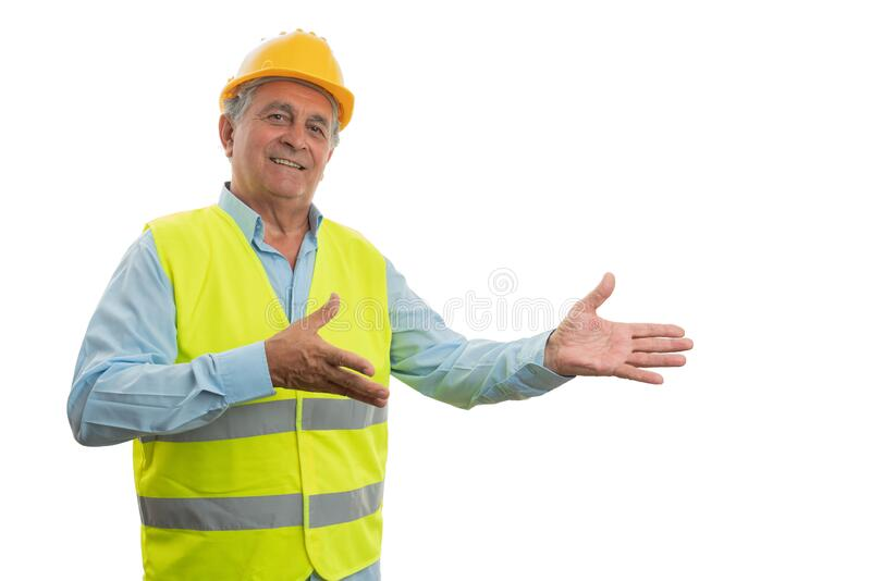 Construction worker presenting copyspace stock image