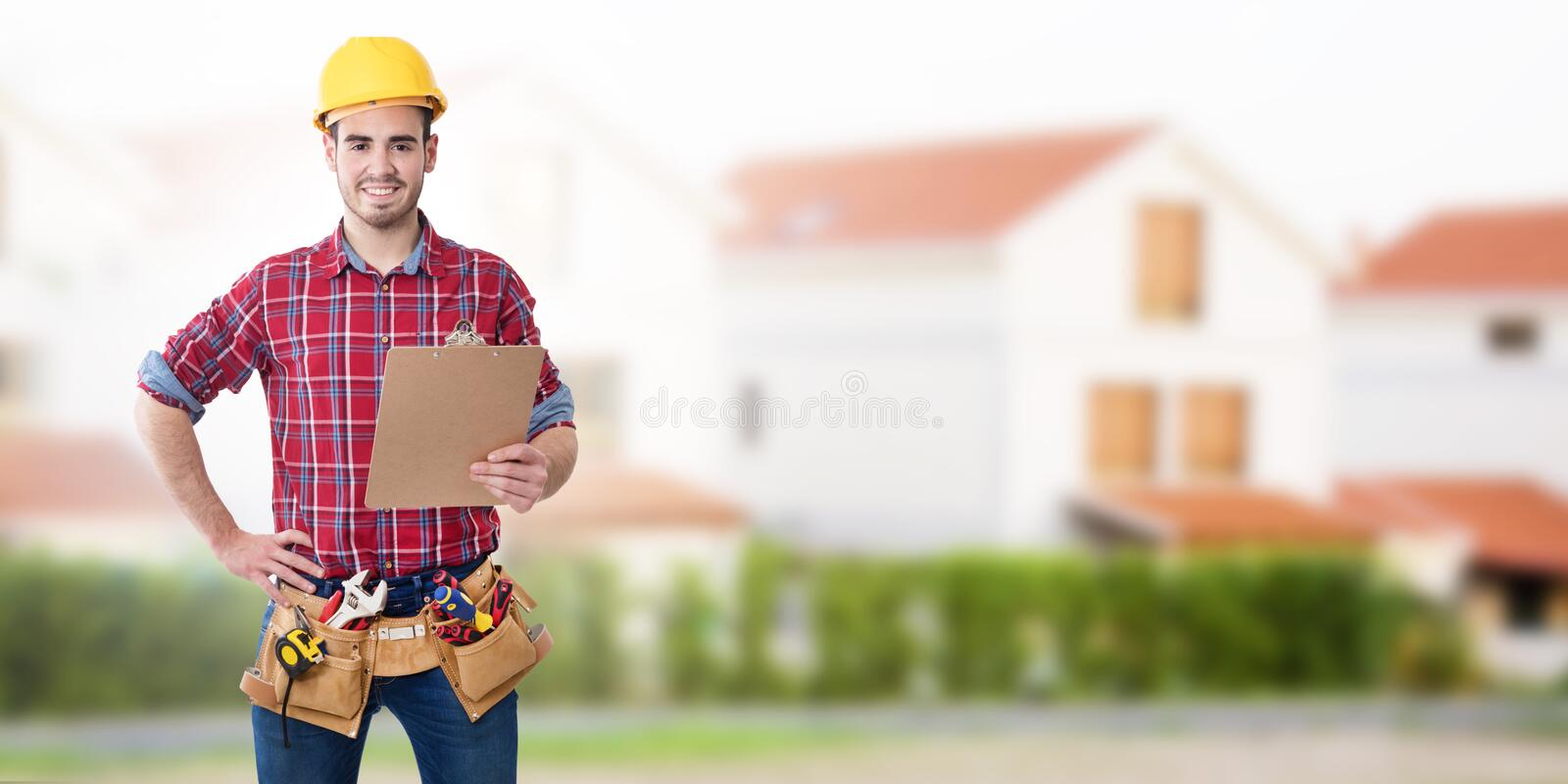 Construction worker or professional stock photos