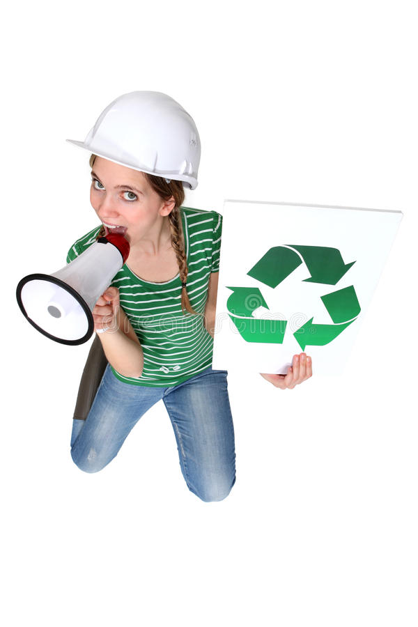 Download Construction Worker Promoting Recycling Royalty Free Stock Photo - Image: 28007905