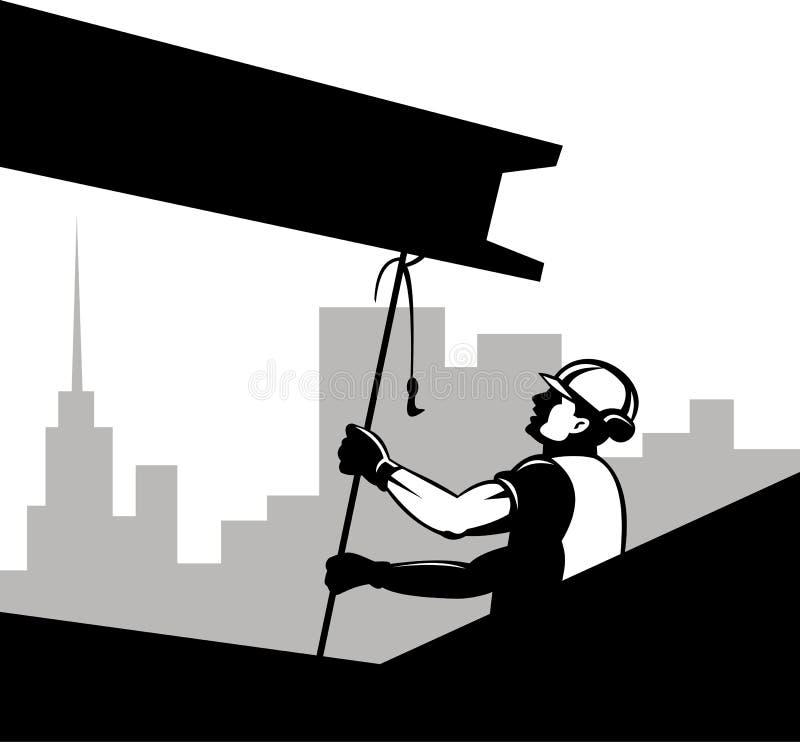 Construction worker pulling girder