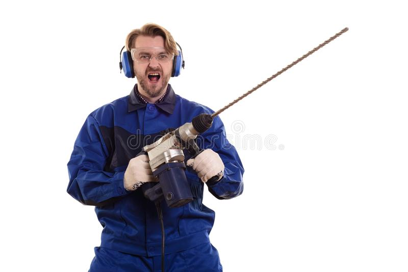 Construction worker with a puncher scream on a white background stock photos
