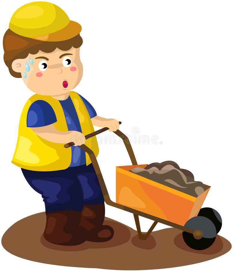Construction worker pushing a wheelbarrow royalty free illustration