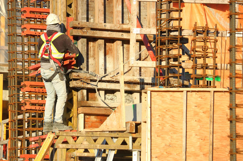 Construction Worker, Re-bar and Material royalty free stock images